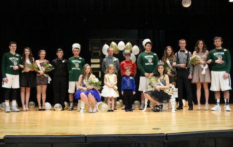 Courtwarming celebrated through assembly, banners and tiaras