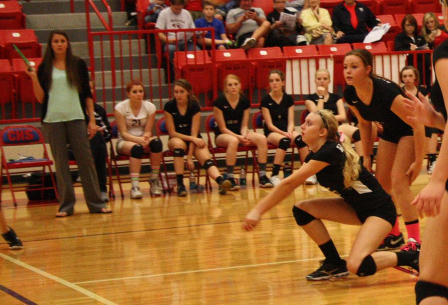 Sophomore Kaitlyn Jones passes the ball during the O'Hara game.
