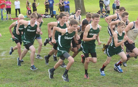 Sophomores Frank McMillin and Justin Bartley, juniors Jesse Stantorf, John Hardgrave, Michael Kephart, and Johnathan Plybon, sophomore Ethan Paxton, and freshman Dallas Larsen start their race in Stover. The boys varsity team placed first.