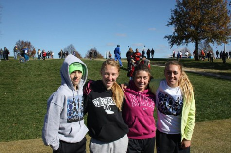 Runners competed in State run on November 7th in Jefferson City. ( left to right ) freshmen Dallas Larsen, senior Jessica Kuykendall, sophomore Ashlee Kuykendall and junior Allison Porter.