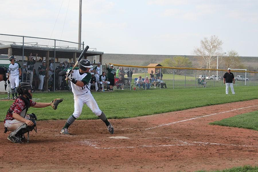 Senior+Jeremy+Eierman+gets+ready+to+bat.+The+baseball+team+beat+Eldon+5-0.