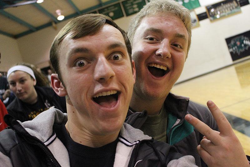 Seniors Bailey Jelinek and Jordan Johnson take a selfie at a home basketball game. Both students actively participated in pep club.