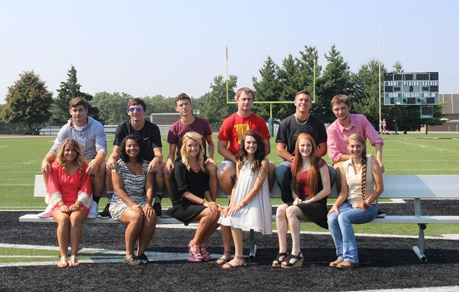 Homecoming royalty candidates pair up with their escorts in preparation for Friday's activities.They include (back row) seniors Austin Steenburgen, Damian Adams, and Thane Henderson, juniors Will Bunch, Cade Chiles, and Hunter Bagley; (front row) seniors Raven Caswell, Keyona Davis, and Payton Adair, juniors Madison Grobe, Sadie Friend and Ashlyn Yoder. Coronation will be held during halftime  at Friday's football game against the Versailles Tigers.