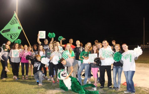 Wildcat Nation prepares to cheer for the football team during their game against Cole Camp. The boys lost 43-0.