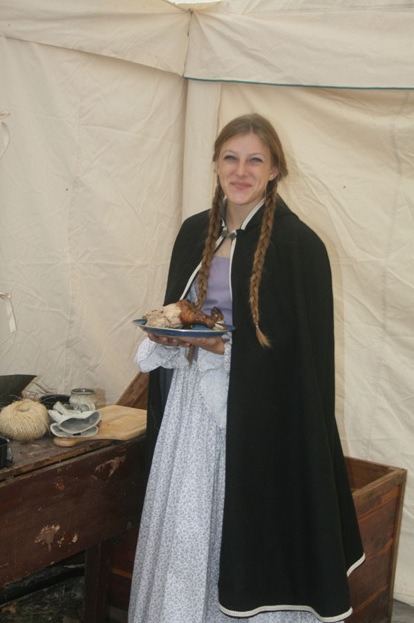 Sophomore Mikayla Andrews takes a break from being a pioneer. Andrews participated in the living history at Heritage Days. Photo submitted.