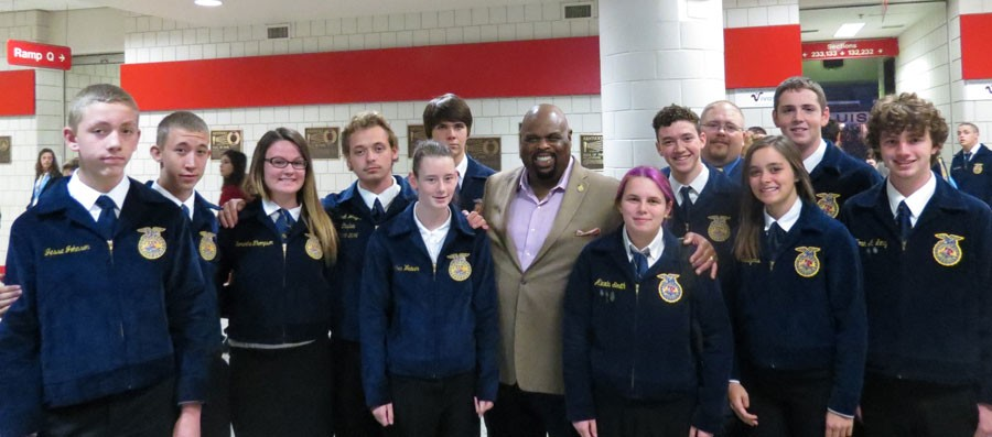 Warsaw FFA members who attended National Convention met featured speaker Dr. Rick Rigsby. They included freshman Jesse Johnson, sophomore Ryan Burks, junior Samantha Thompson, senior Derek Wright, freshman Heather Weaver, freshman Mason Knox, junior Alexis Smith, senior Thane Henderson, FFA advisor Stan Adler, junior Cierra Sawyers, sophomore Rayne Faulconer, and junior Noah Long.