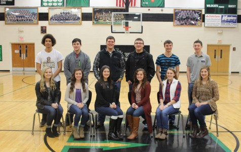 The 2016 courtwarming candidates were announced Friday, January 22.  They include: (front row) junior princess candidates Makayla Mais, Ashlee Kuykendall, and Erica Flores; senior queen candidates Dracie Davidson, Kaitlyn Laue, and Kylie McRoberts; (back row) junior prince candidates Wesley Carr, Austin Gardner, and Blake Brodersen and senior king candidates, Austin McCall, Johnathan Plybon, and Justin Jachetta-Whitmire.