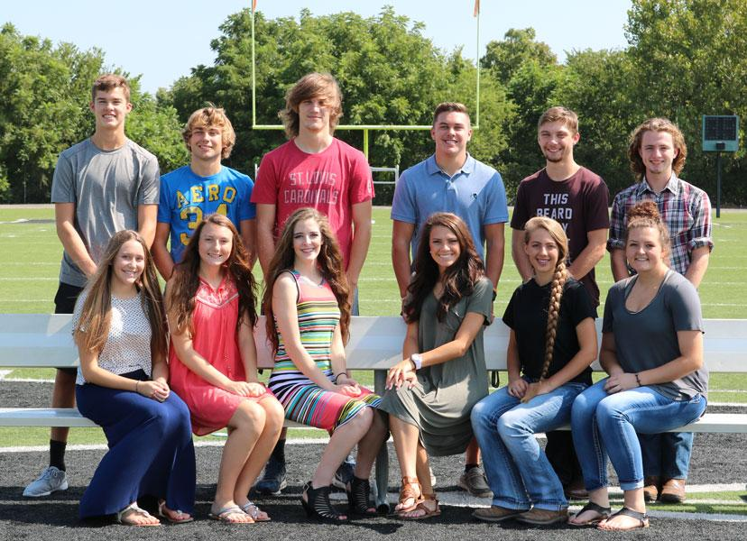 Homecoming+royalty+candidates+are+preparing+for+Friday%27s+festivities.+They+include%3A+%28front+row%29+princess+candidates+Maddie+Keeton%2C+Brooke+Jelinek%2C+Hannah+Chapman%2C+queen+candidate+Madison+Grobe%2C+Ashlyn+Yoder%2C+Kaci+Cooner%3B+%28back+row%29+prince+candidates+Cole+Branson%2C+Keegan+Glenn%2C+Cash+Miller%3B+king+candidates+Cade+Chiles%2C+Hunter+Bagley+and+Noah+Long.