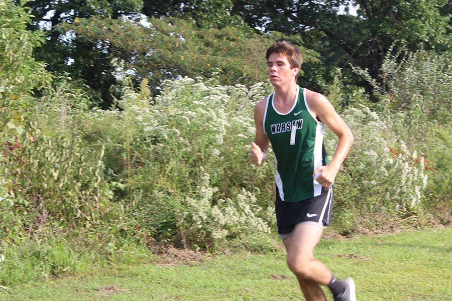 Sophomore Mason Knox runs the course at Stockton on September 20th. This is his  first year in cross country.
