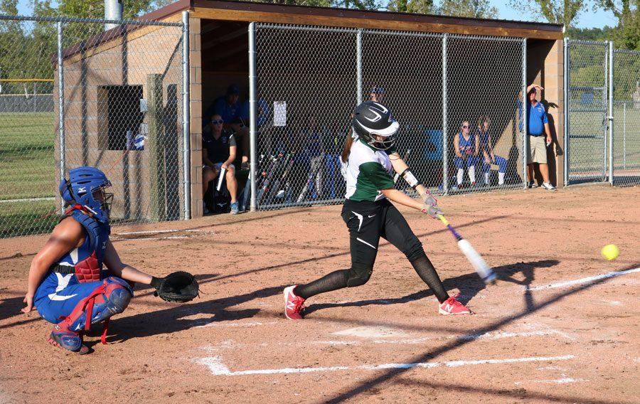 Freshman Aubrey McRoberts bats against California. The Lady Cats defeated the Pintos 11-8.