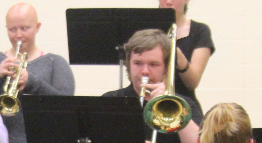 Senior+Nathan+Townley+plays+with+the+jazz+band+at+the+middle+school+fall+concert.+He+plays+trombone+with+the+jazz+band%2C+but+primarily+plays+the+euphonium.++Photo+by+Ciara+Cooper