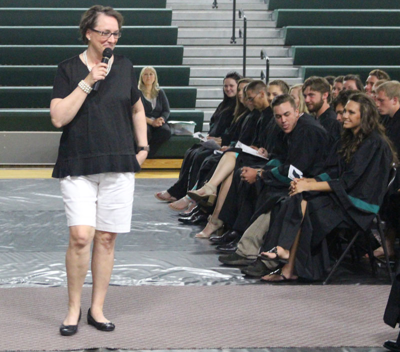 Zane McCubbin talks with seniors less than a week before graduation to remind them of some lessons.