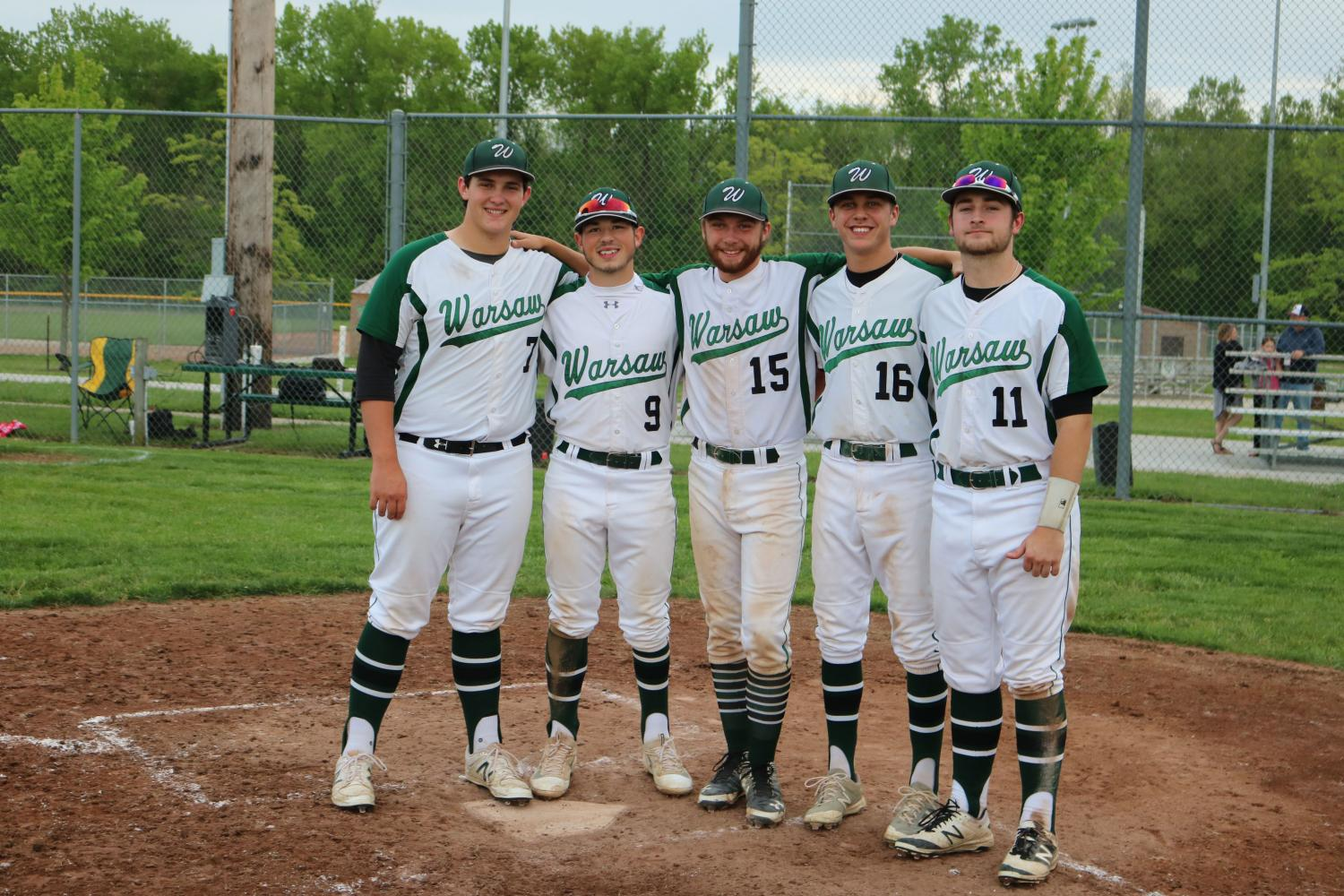 Seniors+Austin+Gardner%2C+Corey+Callahan%2C+Hunter+Bagley%2C+Cade+Chiles%2C+and+Will+Bunch+stand+together+at+the+plate+during+senior+night.+The+group+has+been+noticed+for+showing+their+friendship+on+and+off+the+field.