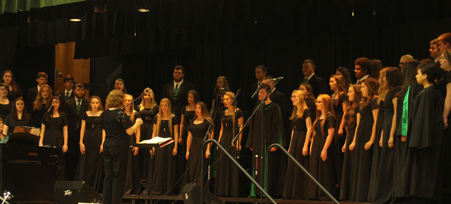 The choir sings at Evening of song.  This was the band and choirs last performance of the year.