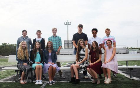 Homecoming candidates will take the field during coronation Friday, Sept. 29. They include (back row) junior prince candidates Logan Davis, Riley Bagley, and Tyler Kirk; senior king candidates Cash Miller, Jayden Schepker, and Keegan Glenn; (front row) junior princess candidates Jessie Glenn, Rylee Pals, Abby Foster; and queen candidates seniors Hannah Chapman, Kyra Kleihauer, and Brooke Jelinek.