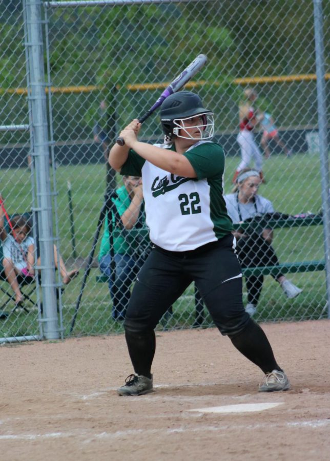 Senior+softball+player+Gabby+Flores+goes+up+to+bat+at+game+against+Clinton.+Floes+plays+third+base.