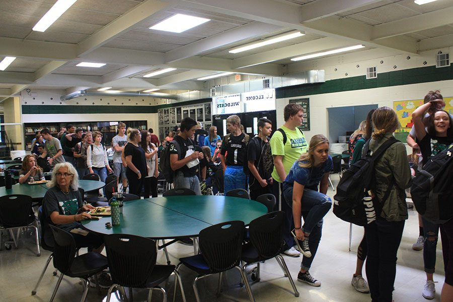 Students rush through lunch.