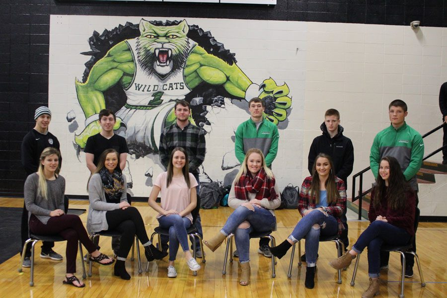 Senior Courtwarming queen candidates Mikayla Andrews, Ashton Adams and Drew Dawson sit beside junior princess candidates Taylor Bunch, Madie Gardener and Kamryn Yach. Senior king candidates Dallas Larsen, Cody Wilson and Rayne Faulconer stand behind their queen candidates along with junior prince candidates Matt Luebbert, Kolby Estes and Jacob Luebbert.