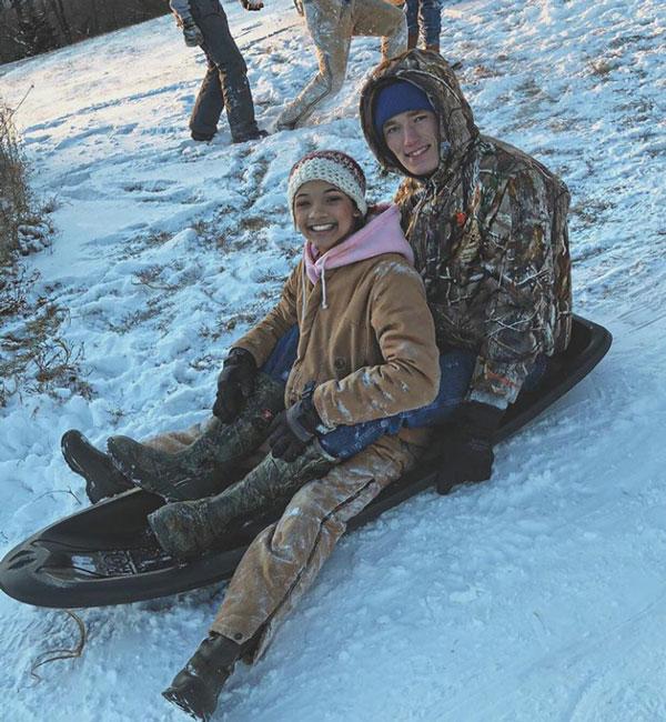 Sophomore+Kya+Schepker+and+junior+Matt+Luebbert+spend+their+snow+day+sledding+together.