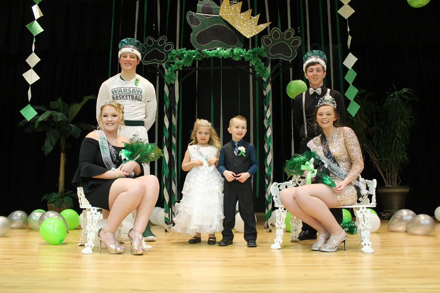 Junior princess and prince, Taylor Bunch and Jake Luebbert, celebrate their newfound royalty titles alongside senior king and queen, Cody Wilson and Ashton Adams. Pre-school students Hannah McGovern and Ben Greene stand between the courtwarming royalty.