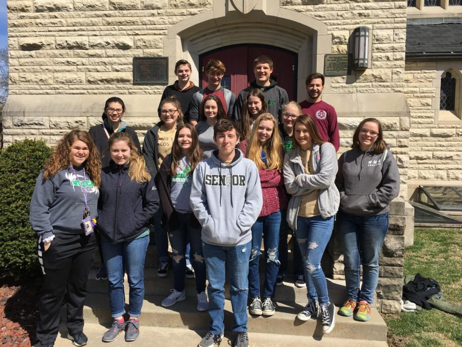 The mathletes traveled to the College of the Ozarks for a math competition on April 4.  They included, (front row) freshmen Taylor Spry, Kylee Fajen, and senior Cody Wilson; (second row) freshman Haley Dwyer, juniors Jessie Glenn, Suzy Cortright, and freshman McKenzie Hensley; (third row) sophomore Elaine Ngo, freshman Lauren Kreisel, sophomore Gabrielle Porter, juniors Kamryn Yach, and Caitlin Dudenhoeffer; (fourh row) sophomore Matthew Schrader, juniors Maleek Porter, Jacob Luebbert, and freshman Joe Montez. The Algebra team tied for 4th place and the Trigonometry team placed 5th.