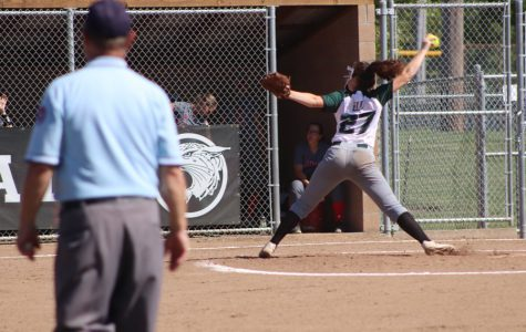 Junior Payge Adair pitches against Lamar at the annual Warsaw softball tournament. The Lady Cats came out on top, taking 1st.
