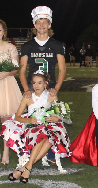 Junior prince and princess, Chase Steiner and Ashten Cunningham celebrate their coronation.
