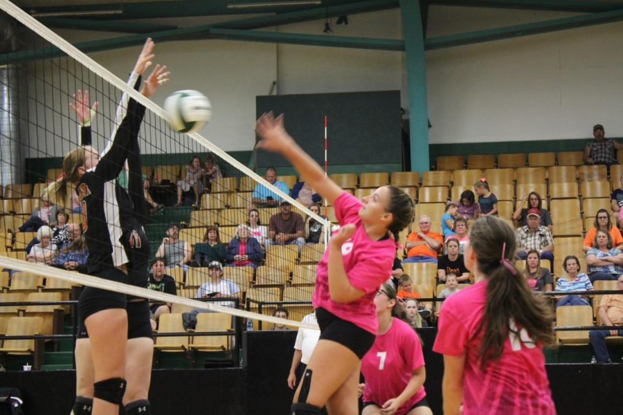 Senior Madie Gardner spikes the ball against the Stover team on Oct. 2.