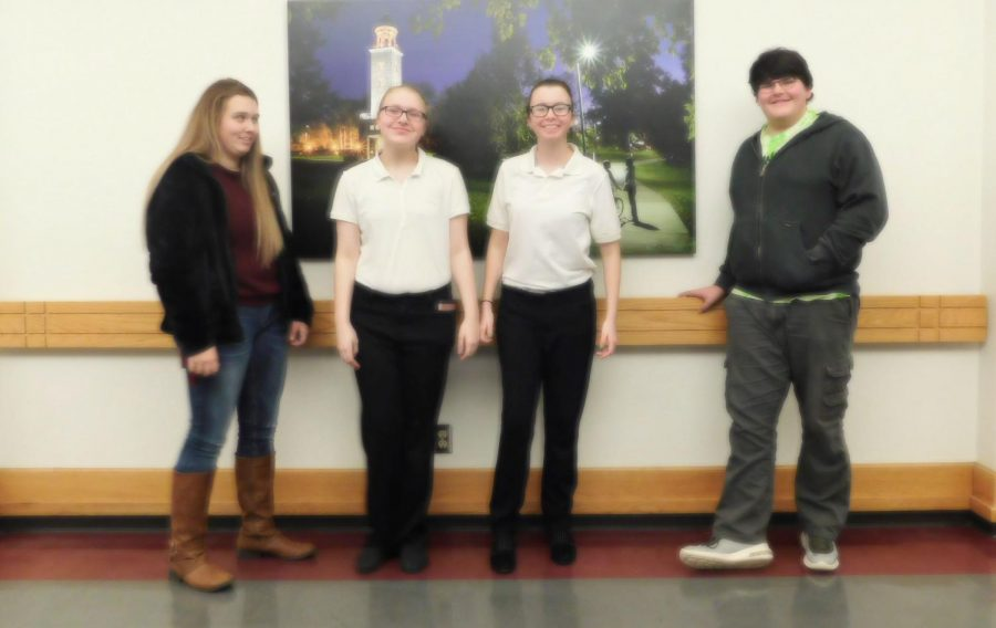 Seniors Jordan Plybon, Caitlin Dudenhoeffer, Brianna George and freshman Benjamin Kowal competed in a STAR event for FCCLA. The event was held on Jan. 24.