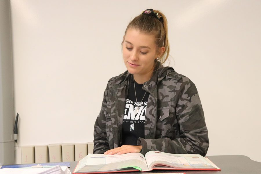 Senior Suzy Cortright helps a student during her A+ Tutoring session in Algebra I. Cortright has plans to attend Missouri State University after she graduates from high school.
