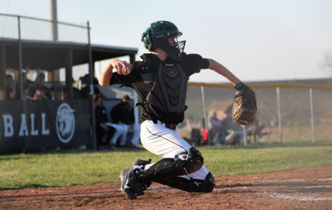 Sophomore catcher Trey Palmer throws back to the pitcher at the home game against Buffalo on March 26. The Cats won 11-8.