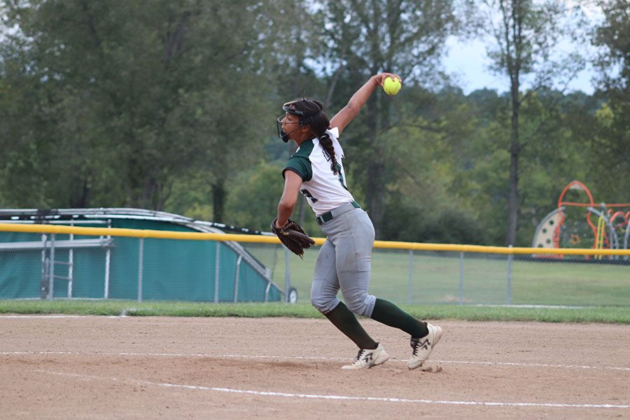 Senior pitcher Kya Schepker pitches the ball in the buffalo game. The ladycats defeated the Bison 16-4.