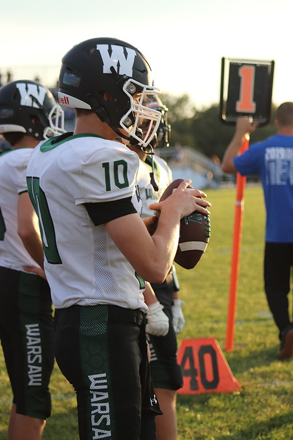 Sophomore Brady Slavens prepares to take the field at the Cole Camp game on Sept. 18. The Wildcats lost at Cole camp (8-21).