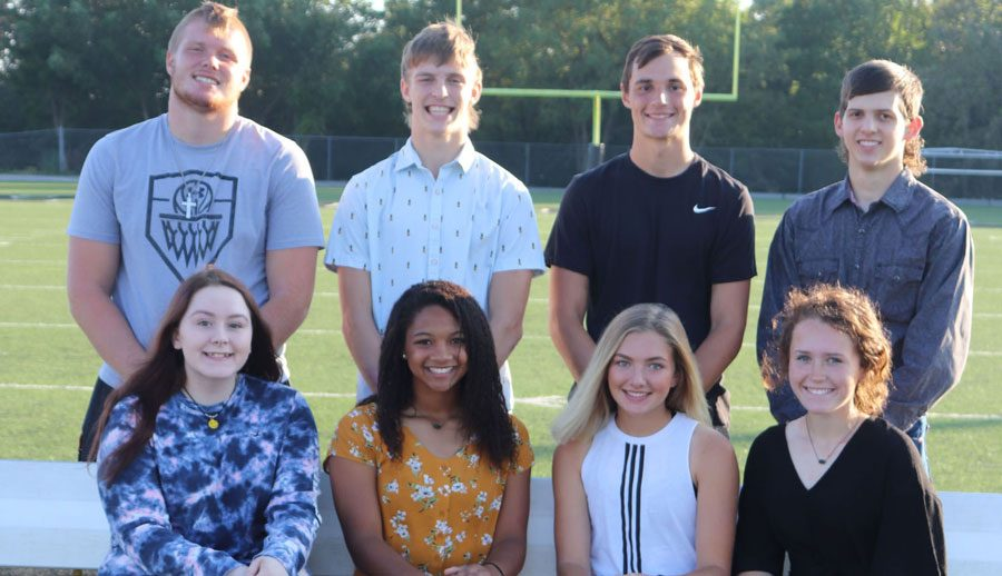 Senior+Homecoming+royalty+candidates+prepare+for+Friday%27s+events.+They+include+%28front+row%29+Alyssa+Gemes%2C+Kya+Schepker%2C+Rayni+Simons+and+Payge+Adair%3B+%28back+row%29+Lane+Bates%2C+Zach+Chapman%2C+Matt+Couzens+and+Lerran+Yoder.