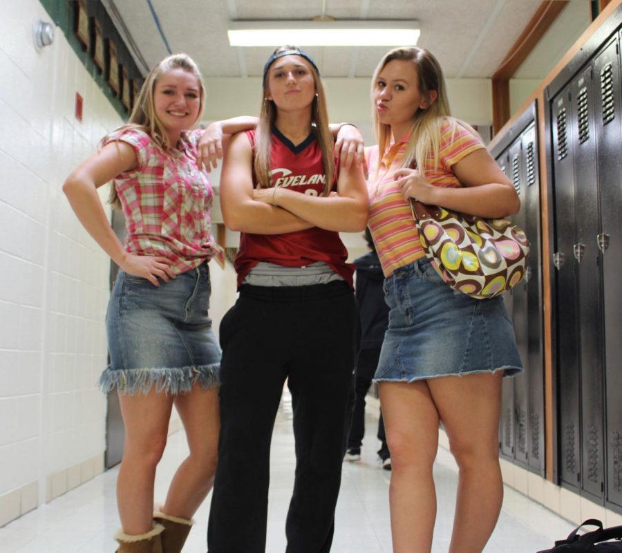 Junior Brooke Spry, senior Aubrie  McRoberts and junior Rheanna Coke dressed up for the 2000s day during Spirit Week.