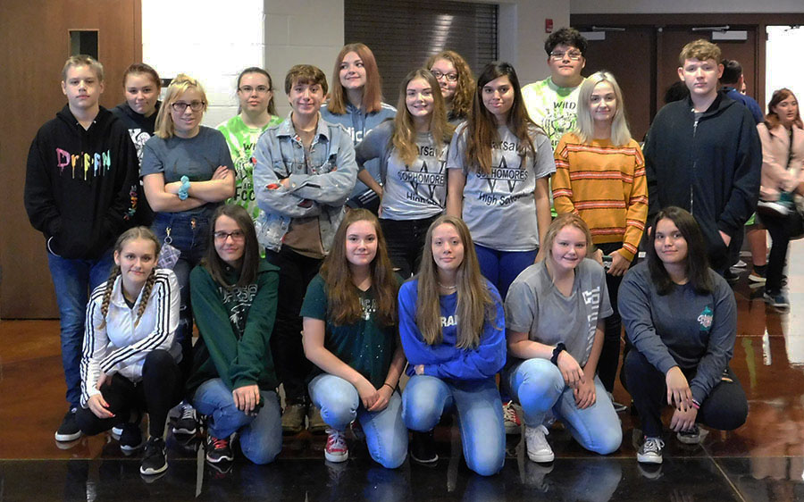 FCCLA members (front row) freshmen Jordyn Degrafffenreid, Angie Duzan, Madelyn Mosely, Timber Sandstrom, Bailee Steiner and Angelisa Amos; (second row) junior Kameron Andrews, sophomores Samantha McClusky, Calvin Long, Brittni Brown, Bridget McClusky and junior Lily Waller; (back row) junior Izebelle Reed, seniors Katelyn Allen, Mackenzie Gemes, junior Arianna Herrick, sophomores Benjamin Kowal and Nicholas Overton attended the FCCLA Region 12 Leadership Conference. The conference was held on Oct. 3 in Smith Cotton High School Auditorium.