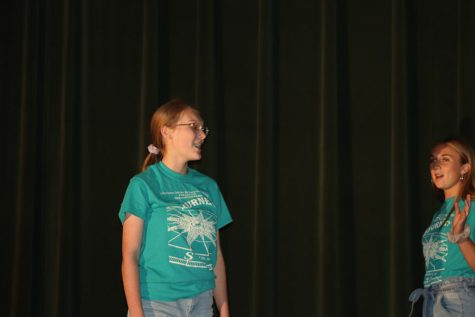 Senior Madeline Schockmann performing with Senior Aubrie McRoberts at show stoppers on Oct. 29. Every other year the choir department prepares and performs displays their talents in choir.
