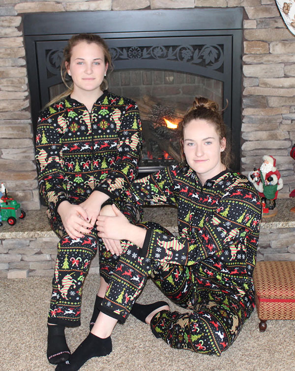 Senior Reagan Shelby participates in her family's Christmas tradition. Shelby and her cousin wear matching PJs every Christmas Eve.