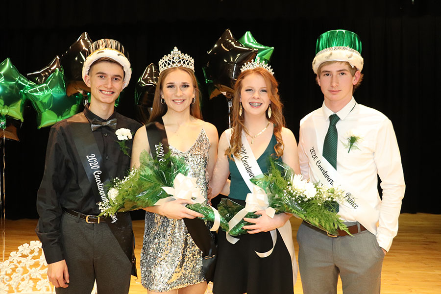 The 2020 Courtwarming royalty included king senior Parker love, queen senior Aubrie McRoberts, princess junior Haven Collins and prince junior Zachary Sharp. Coronation was held during halftime of the boys