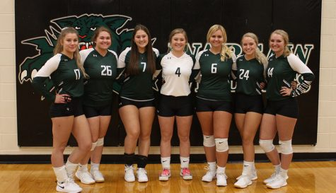 Volleyball seniors Rorie Jenkins, Taylor Spry, Lea Mebruer, Kylee Fajen, Rheanna Coke, Aspen Whitaker and Brooke Spry come together for a picture after their game against the Sherwood Marksmen on Sept. 3. Volleyball seniors were recognized for all of their hardwork before the Varsity game on Sept. 3.