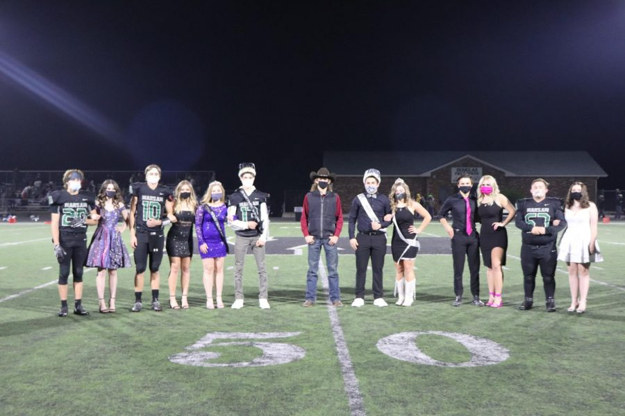 The Homecoming court poses after coronation. They included junior candidates James Kellner, Madison Coskey, Brady Slavens, Taylor Howe, Princess Nora McMillin, Prince Grant Chapman, 2019 King Lerran Yoder, King Austin Brazel, Queen Kylee Fajen, senior candidates Bradley Brown, Rheanna Coke, Grady Miller and Haley Dwyer.