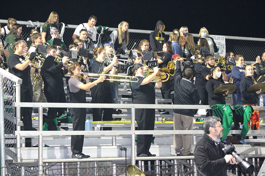 The Wildcat Marching band performs pep tunes during time outs and between quarters during the Homecoming game. The band performed their show during pregame rather than halftime due to the large amount of events happening that night.