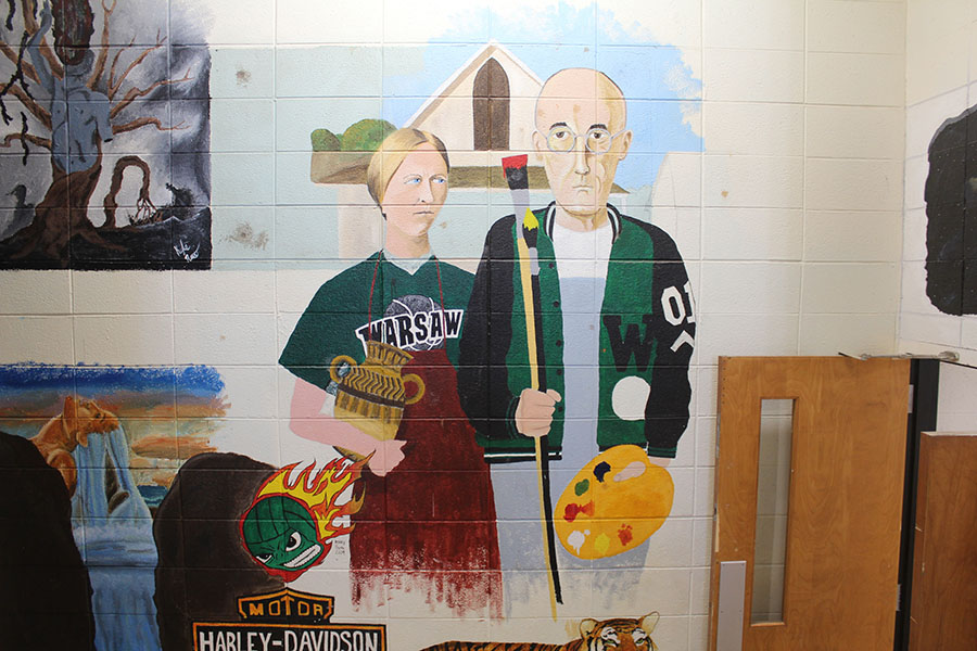 "An ever-growing collection of art on the walls of the art building features an ""American Gothic""-inspired mural done by former art teacher Jennifer Greene who continues this tradition of WHS artists leaving their own touch on the walls and ceiling tiles."