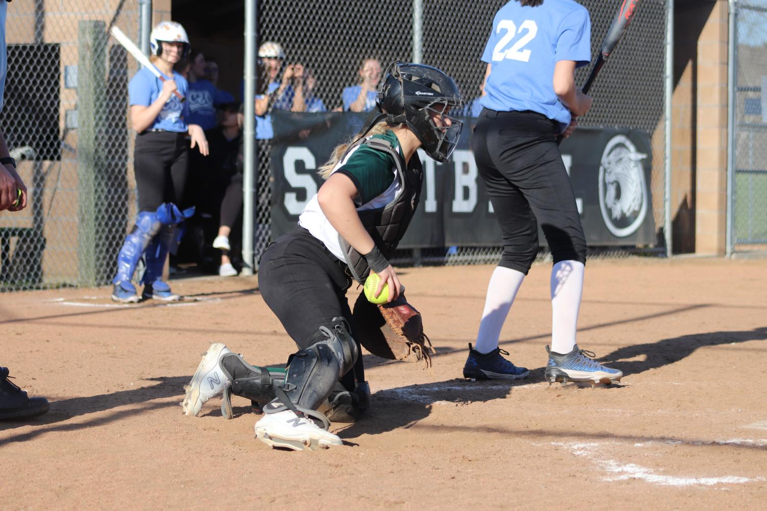 Junior catcher Taylor Howe prepares to throw the ball back during the softball game against Climax Springs on March 29. Warsaw won with a score of 15-0.