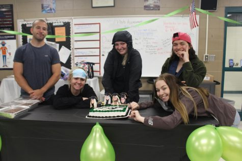 On the left Newspaper staff writer, Joe Montez, Newspaper editor an chief, Rheanna Coke, Yearbook editor an chief, Brooke Spry, Newspaper editor an chief, Emmaleigh Kowal, and  Newspaper design editor, Darby Mostaffa celebrating their graduation party before they leave.